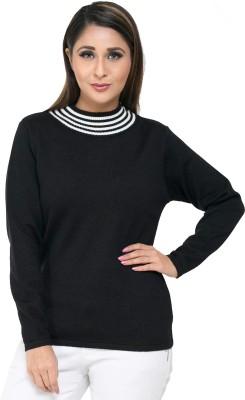 Perroni Solid Round Neck Casual Women Black Sweater