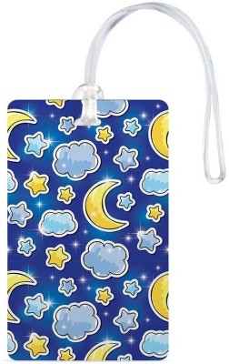 100yellow Luggage Tags- Moon & Star Printed Blue Color High Quality Gloss Finish PVC Travel/Bag Tag with Silicon Strap- Ideal For Kids Luggage Tag(Multicolor)  available at flipkart for Rs.119