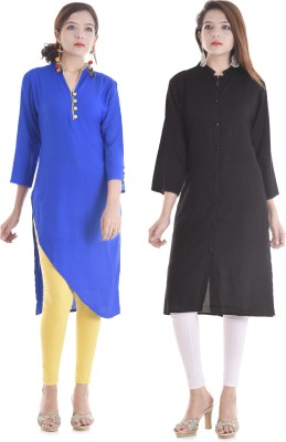 TRUEBELLE Casual Solid Women Kurti(Pack of 2, Blue, Red)