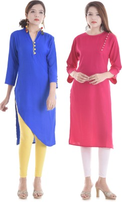 DUENITE Casual Solid Women Kurti(Pack of 2, Blue)
