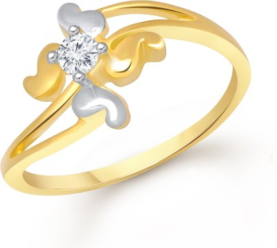 Divastri Four Petal Alloy Cubic Zirconia 18K Yellow Gold Plated Ring