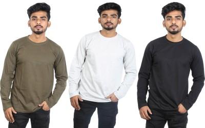 Roden Solid Men Round Neck Black, Green, Grey T-Shirt(Pack of 3) Flipkart