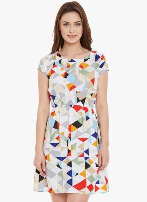 Shopping Queen Women's Gathered Multicolor Dress