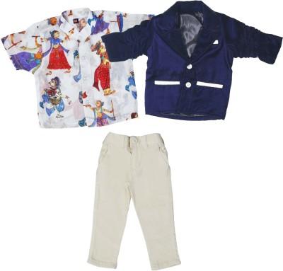 Bad Boys Boys Festive & Party Blazer, Shirt and Trouser Set(Multicolor Pack of 3) at flipkart
