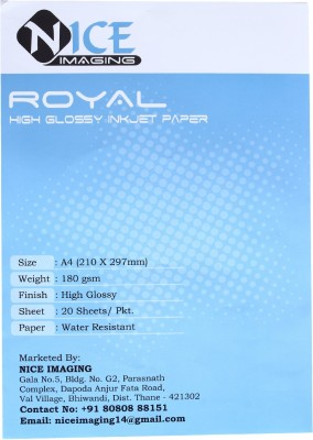 NICE Royal High Glossy Photo Paper 180 gsm unruled A4 Inkjet Paper(Set of 1, White)
