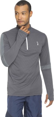 Campus Sutra Solid Men Mandarin Collar Grey T-Shirt at flipkart