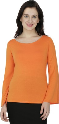 RITU DESIGNS Party Bell Sleeve Solid Women Orange Top