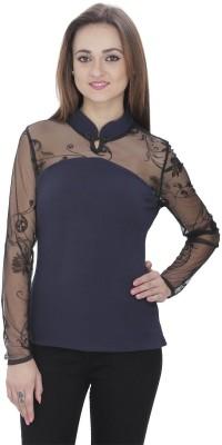 RITU DESIGNS Party Full Sleeve Embroidered Women Dark Blue Top