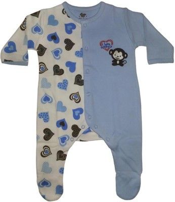 Cradle Togs Romper For Boys & Girls Casual Printed Cotton(Light Blue, Pack of 1)