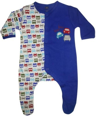 Cradle Togs Romper For Boys & Girls Casual Printed Cotton(Blue, Pack of 1)