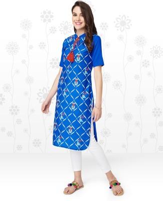 Anmi Printed Women Straight Kurta(Blue)