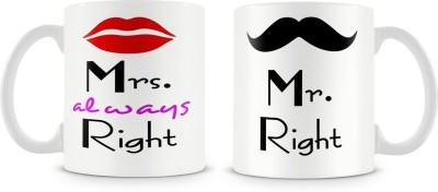 Brand Bihar Mr Right Mrs Always Right Couples Pair | Pack of 2, Funny Wedding Gifts : Best Marriage Gift For Couple Bone China, Ceramic Mug(330 ml, Pack of 2)  available at flipkart for Rs.599