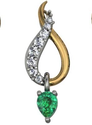 GO4CARAT 14k yellow gold pendant with diamond & cz . Rhodium, 14K Yellow Gold Diamond, Cubic Zirconia Yellow Gold Pendant