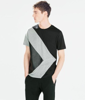 stand out Self Design, Striped, Geometric Print, Conversational Men Round Neck Black T-Shirt