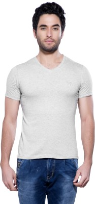 Maniac Solid Men V neck Grey T Shirt