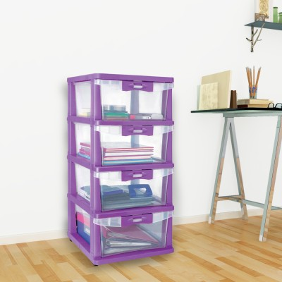 Nilkamal Plastic Free Standing Chest of Drawers(Finish Color - Violet)