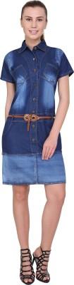 SKM Women Shirt Blue Dress