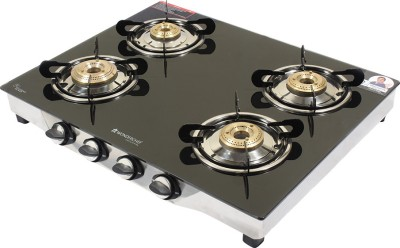 Wonderchef Ruby Glass, Stainless Steel Manual Gas Stove(4 Burners)