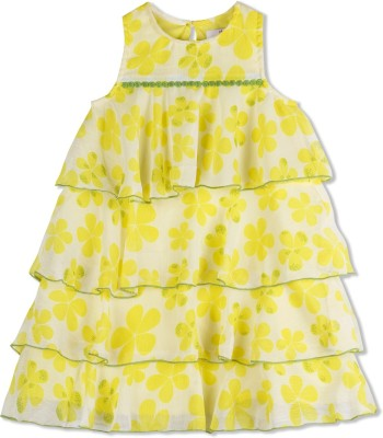 Young Birds Girls Midi/Knee Length Casual Dress(White, Sleeveless) at flipkart