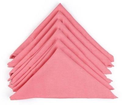 Soumya Furnishings Soumya Solid Cotton Light Pink Color Table Napkin Pink Napkins(6 Sheets) at flipkart