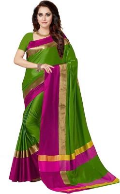 Ishin Solid Bollywood Art Silk Saree(Green)