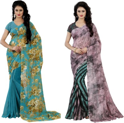 Wama Fashion Printed Daily Wear Faux Georgette Saree(Pack of 2, Multicolor)