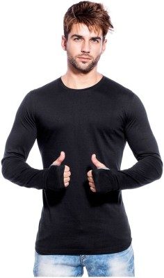 PAUSE Solid Men Round Neck Black T-Shirt