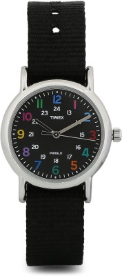 Timex T2N869 Weekender Black Nylon Slip Thru Strap Women's Watch
