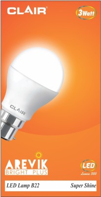 CLAIR 3 W Standard B22 LED Bulb(White)  available at flipkart for Rs.101