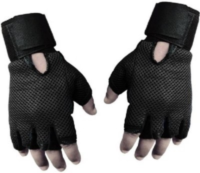 Alaska New Heavy leather Netted With Wrist Support Gym & Fitness Gloves (Free Size, Black)  available at flipkart for Rs.99