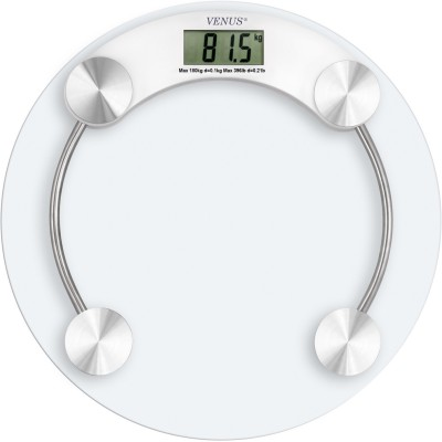 Venus Digital Thick Glass Body Round Weighing Scale(White)