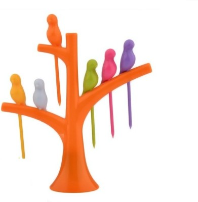 Gauba Traders Birdie Fruit Fork Bird Shape Stick Tree Shape Holder Tableware Plastic Fruit Fork Set(Pack of 6)