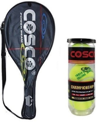 Cosco Combo of Two, one 'Power Beam' Tennis Racquet (Color on Availability) and One 'Championship'' Tennis Ball box (pack of 3) Tennis Kit