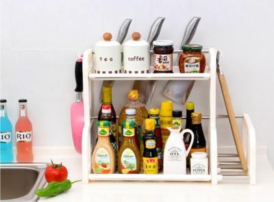 SYGA 2 Layer White Storage Shelf With 2-Height Adjustable Platform and 4-Side Hooks, Storage Rack Kitchen Cabinet Organizer Plastic Kitchen Rack(White)