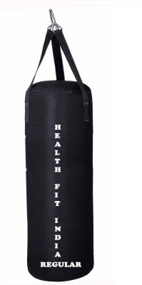 HEALTH FIT INDIA Regular 1.5 Feet Long, Synthetic Leather Material, Black Color, Unfilled with Hanging Straps Hanging Bag(1.5, 18 kg)