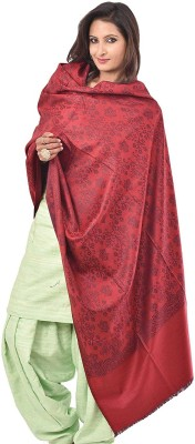 Kashmiri Handloom Shawl Wool Floral Print Women's Shawl(Maroon)