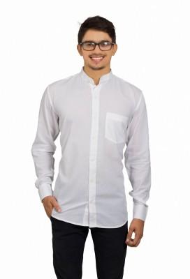 Leebazone Men's Solid Casual Mandarin Shirt