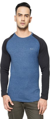 Perroni Solid Men Round Neck Blue T-Shirt
