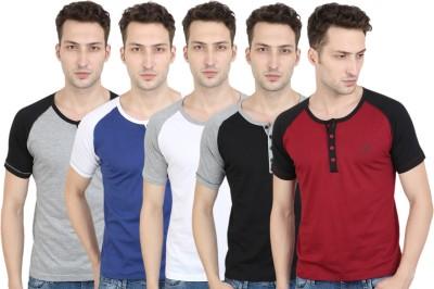FM Fashionmania Solid Men Henley Black, Grey, Blue, Maroon, White T-Shirt(Pack of 5)