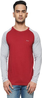 Perroni Solid Men Round Neck Maroon T-Shirt