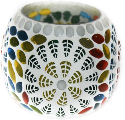SR Crafts Handmade Mosaic Cup Glass Tealight Holder(Multicolor, Pack of 1)