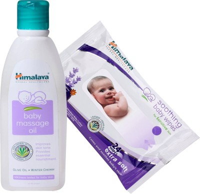 Himalaya Herbals Baby Massage Oil (100ml)+Himalaya Herbals Soothing Baby Wipes (24 Sheets)(White)  available at flipkart for Rs.215