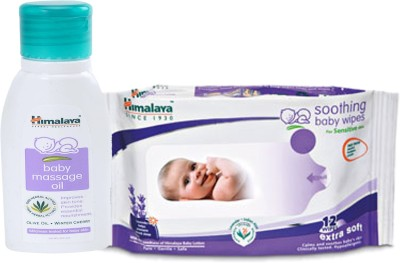 Himalaya Herbals Baby Massage Oil (50ml)+Himalaya Herbals Soothing Baby Wipes (12 Sheets)(White)  available at flipkart for Rs.145