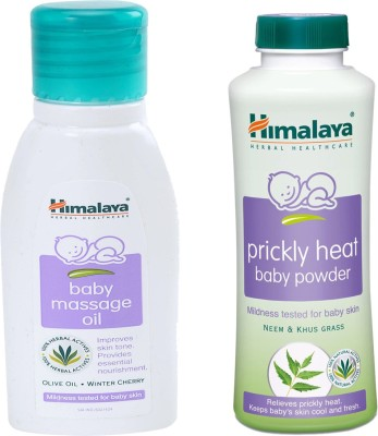 Himalaya Herbals Baby Massage Oil (50ml)+Himalaya Herbals Prickly Heat baby Powder (50g)(White)  available at flipkart for Rs.148