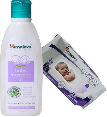 Himalaya Herbals Baby Massage Oil (200ml)+Himalaya Herbals Soothing Baby Wipes (72 Sheets)(White)  available at flipkart for Rs.347