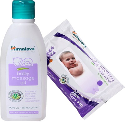 Himalaya Herbals Baby Massage Oil (200ml)+Himalaya Herbals Soothing Baby Wipes (24 Sheets)(White)  available at flipkart for Rs.275