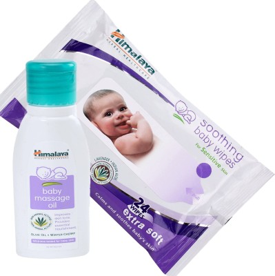 Himalaya Herbals Baby Massage Oil (50ml)+Himalaya Herbals Soothing Baby Wipes (24 Sheets)(White)  available at flipkart for Rs.175