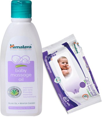 Himalaya Herbals Baby Massage Oil (100ml)+Himalaya Herbals Soothing Baby Wipes (12 Sheets)(White)  available at flipkart for Rs.185