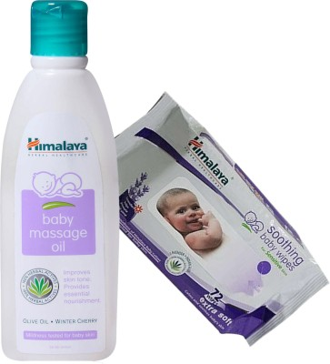 Himalaya Herbals Baby Massage Oil (100ml)+Himalaya Herbals Soothing Baby Wipes (72 Sheets)(White)  available at flipkart for Rs.295