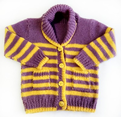 Little Aayu Baby Boys Button Striped Cardigan